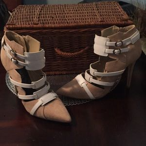 Paper Fox brown suede white leather heels 10